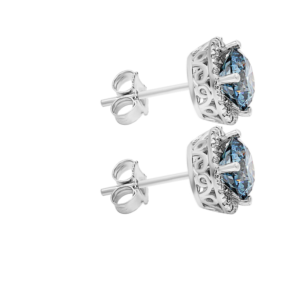 2.35CT. T.W. Blue and White Lab-Grown Diamond Halo Earrings