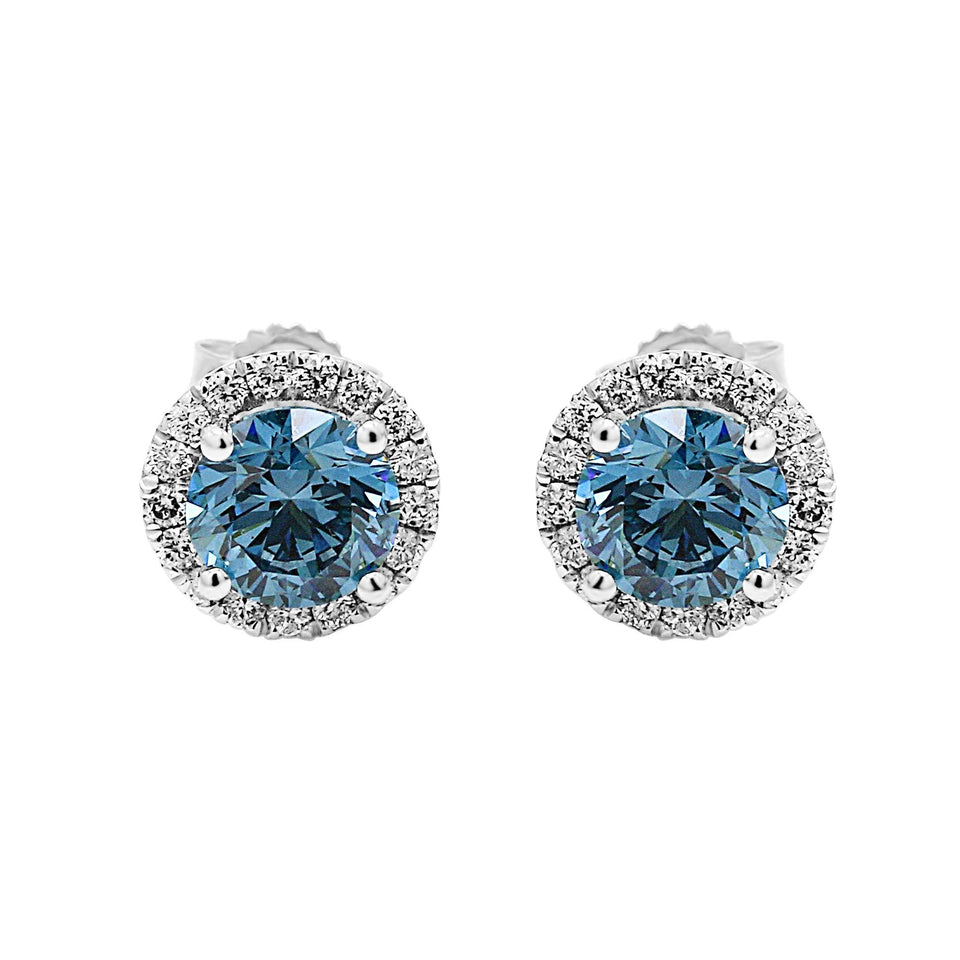 2.35CT. T.W. Blue and White Lab-Grown Diamond Halo Earrings 14K White Gold