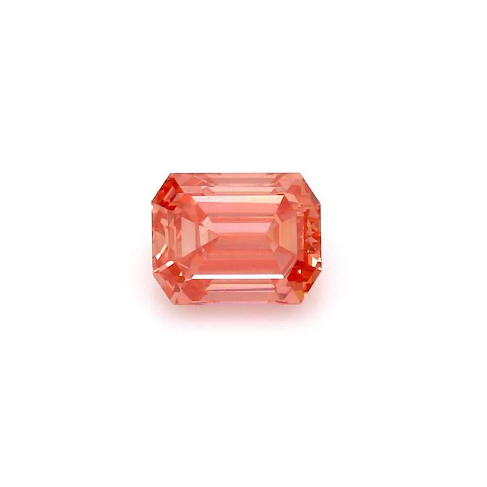 0.9 Carat Emerald Cut Fancy Vivid Pink VS1 IGI Certified Lab Grown Diamond