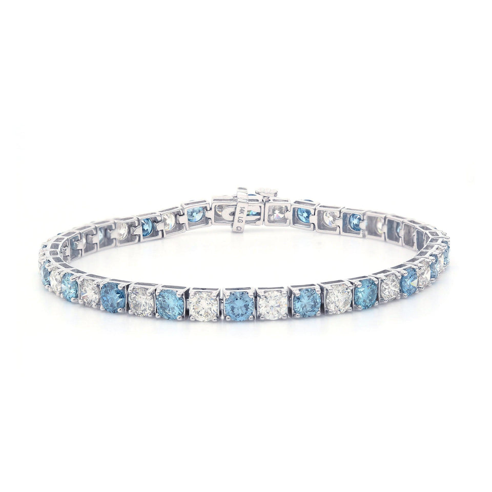 10.00 Ct. T.W. Ice Blue And White Lab-Grown Diamond 14K White Gold Bracelet