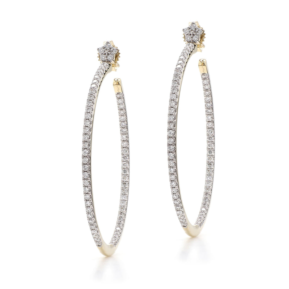 1.00 Ct. T.W. Lab-Grown Diamond Hoops 14K Gold