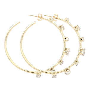 2 1/2 Ct. T.W. Lab-Grown Diamond Hoops 14K Yellow Gold