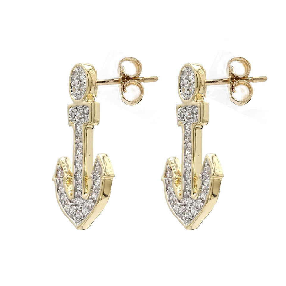 1/2 Ct. T.W. Lab-Grown Diamond Anchor Earrings 14K Yellow Gold