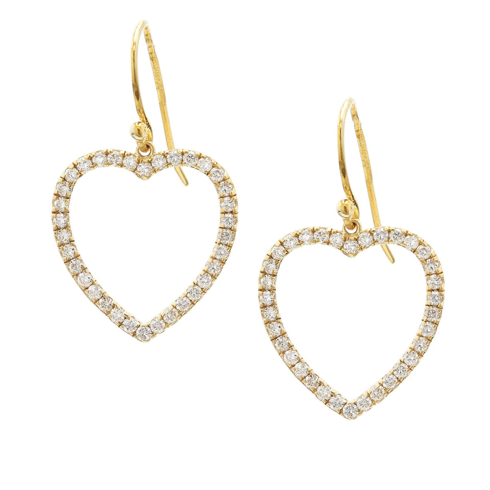 1.00 Ct. T.W. Lab-Grown Diamond Heart 14K Yellow Gold Earrings