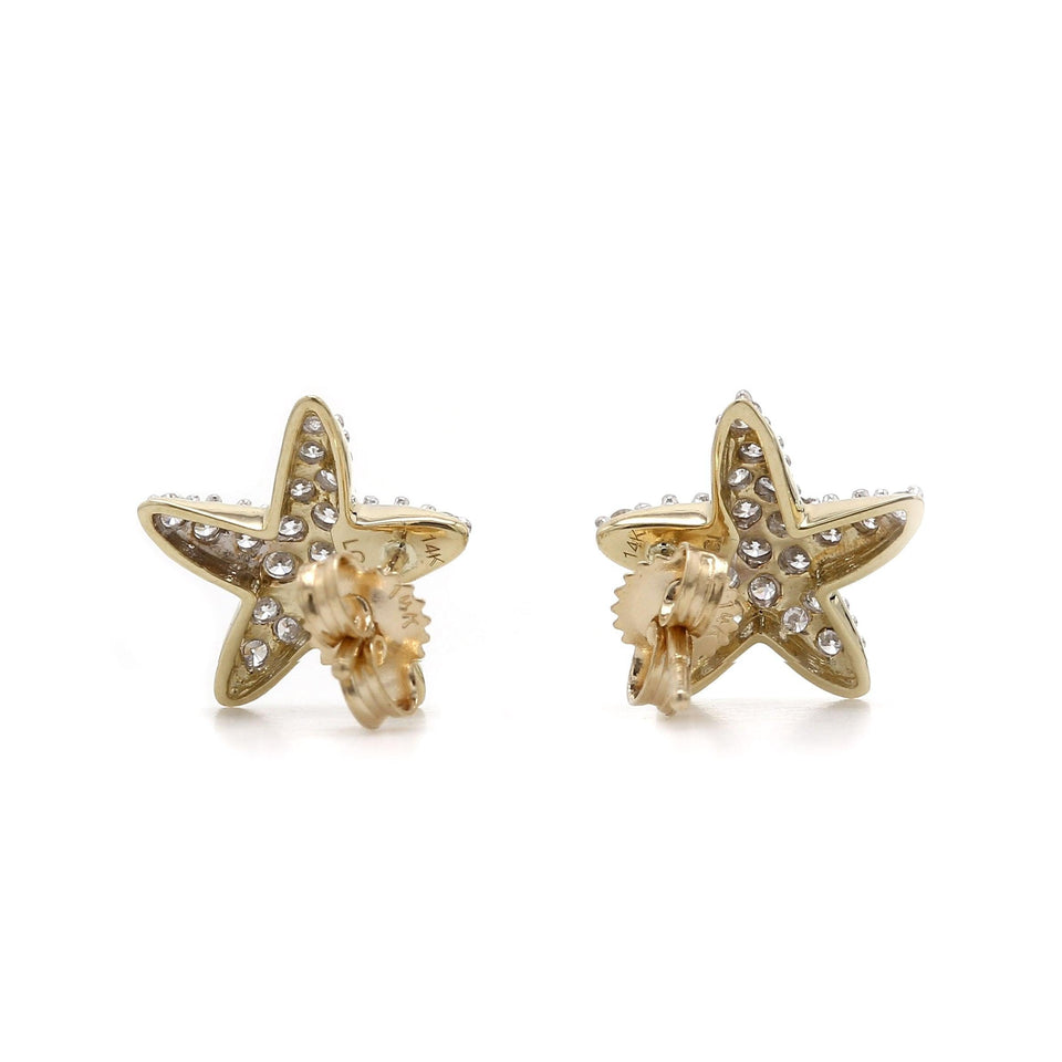 Star Fish Stud Earrings 14K Yellow Gold