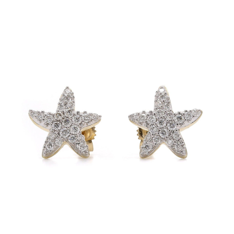 1/2 Ct. T.W. Lab-Grown Diamond Star Fish Stud Earrings 14K Yellow Gold