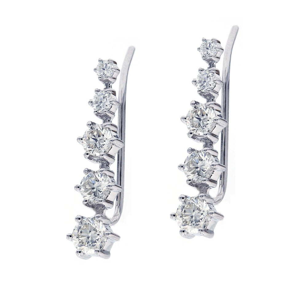 2.00 Ct. T.W. Lab-Grown Diamond Ear Climbers 14K White Gold Lab-Grown