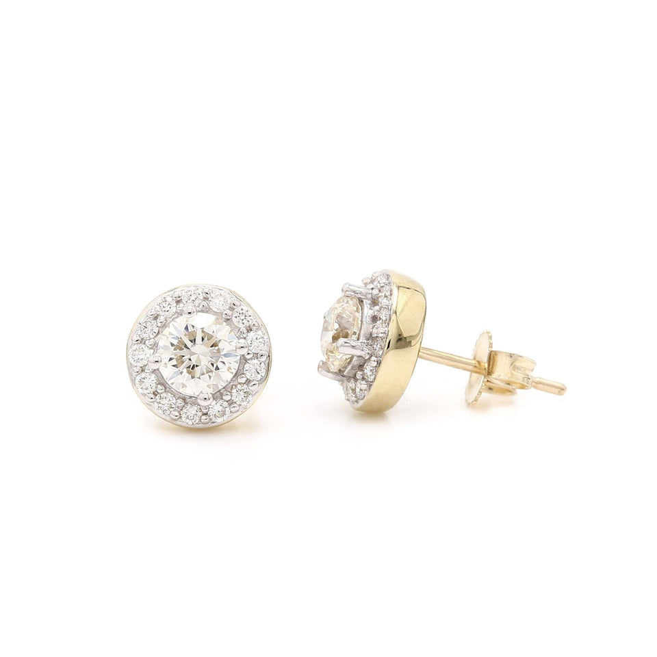 1.00 Ct. T.W. Lab-Grown Diamond Halo Earrings 14K Yellow Gold Lab-Grown