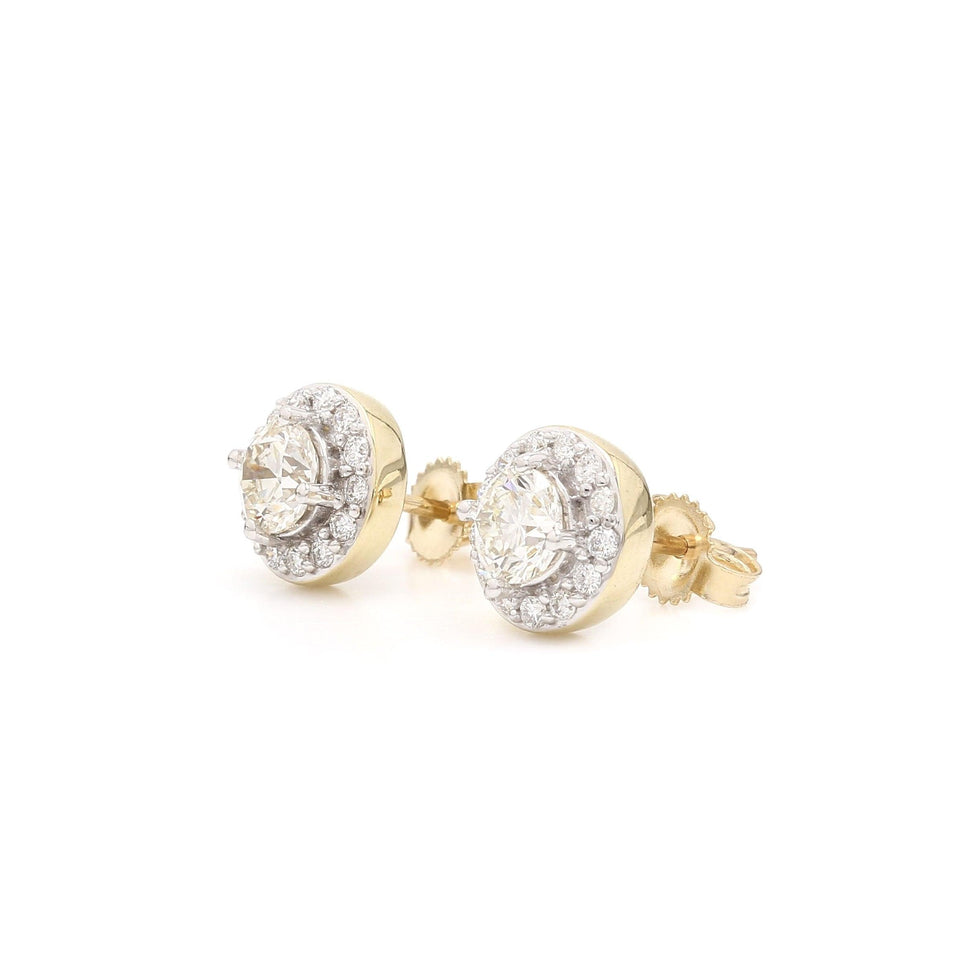 1.00 Ct. T.W. Lab-Grown Diamond Halo Earrings 14K Yellow Gold