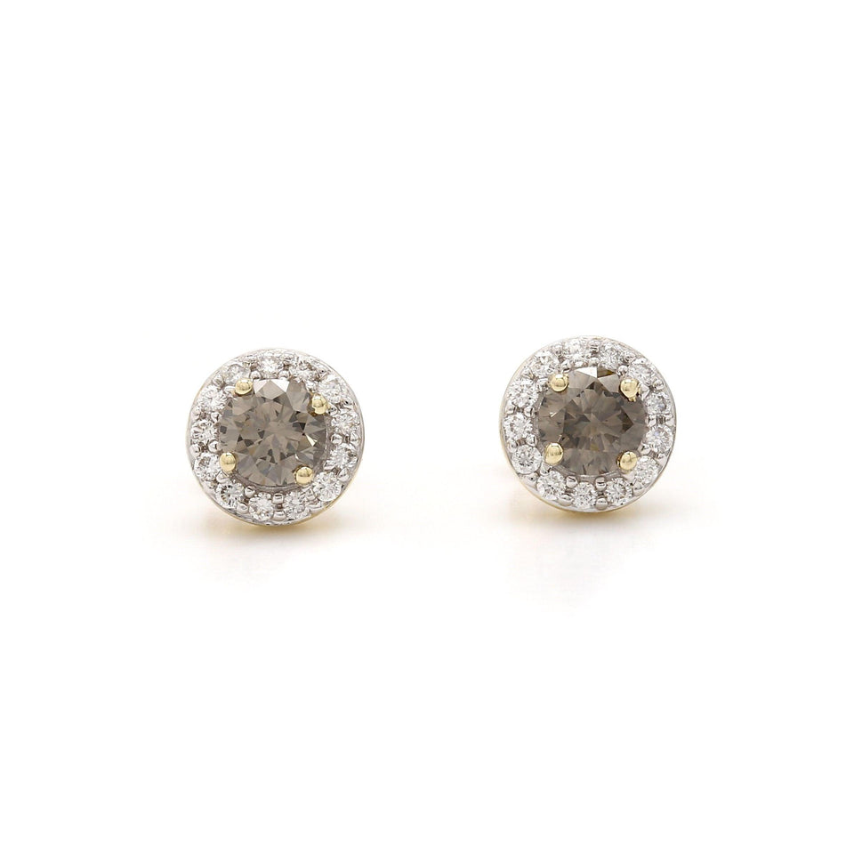 1.00 Ct. T.W. Olive and White Lab-Grown Diamond Halo Earrings 14K Yellow Gold