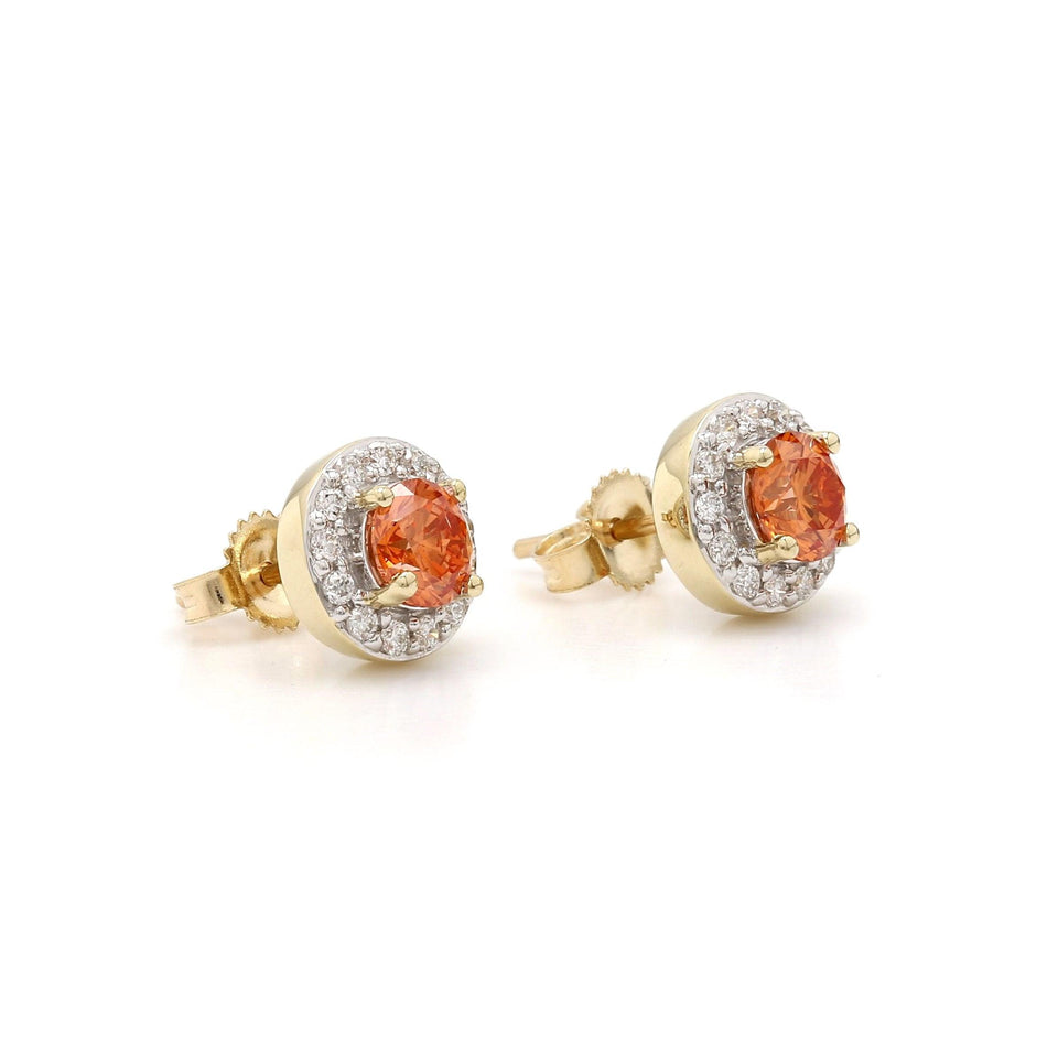 1.00 Ct. T.W. Orange Diamond Halo Earrings