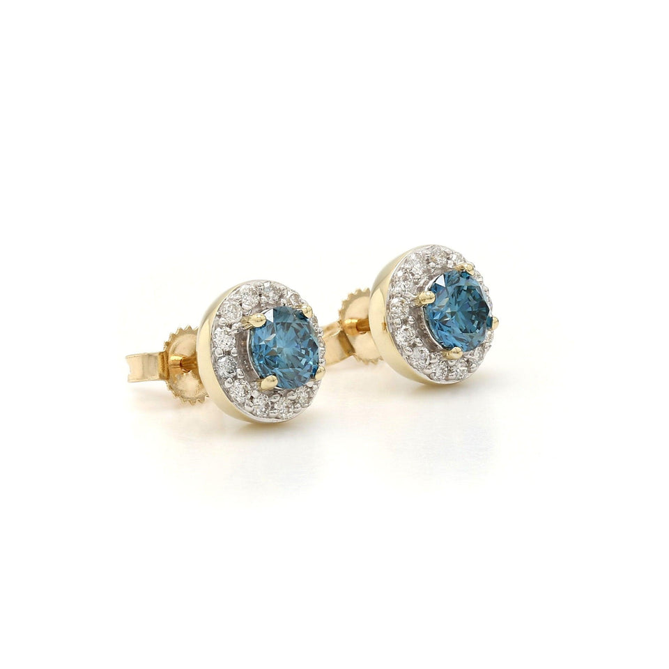 1.00 Ct. T.W. Royal Blue and White Diamond Halo Earrings 14K Yellow Gold