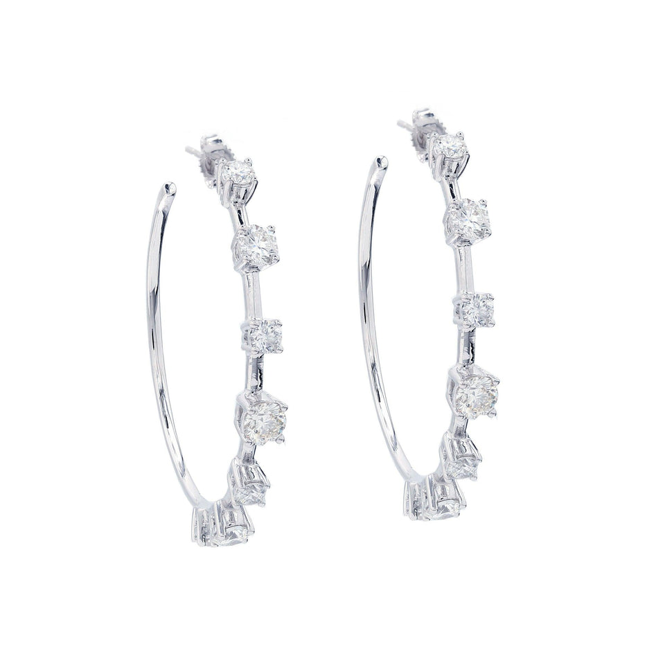 4.00 Ct. T.W. Lab-Grown Diamond Hoops 14K White Gold Lab-Grown