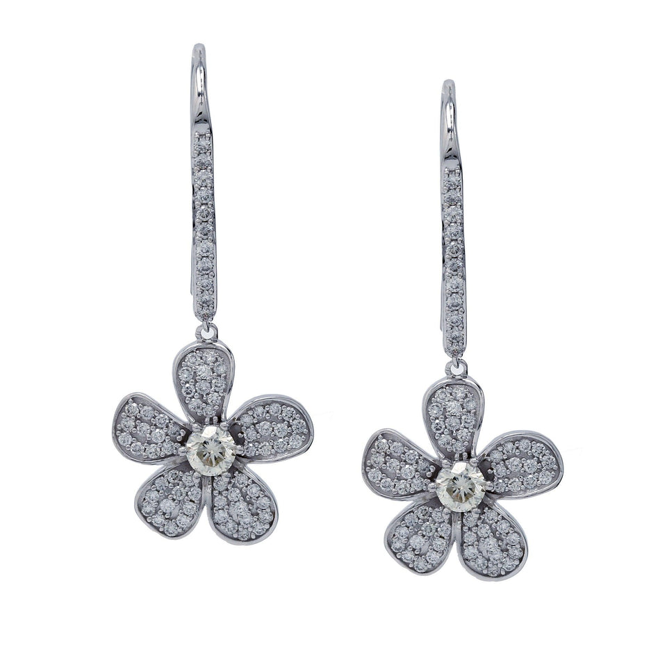 2.00 Ct. T.W. Lab-Grown Diamond Flower Dangle Earrings 14K Gold