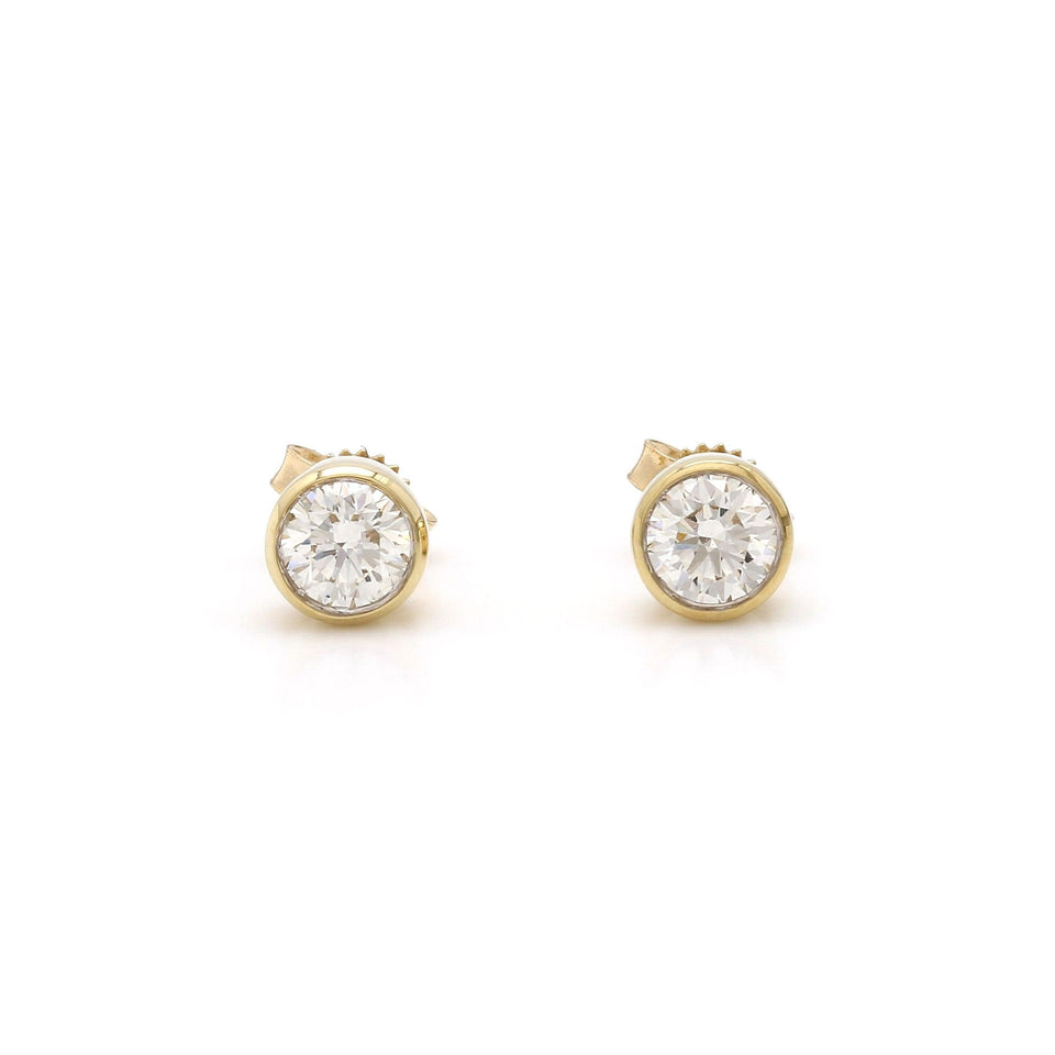 3/4 Ct. T.W. Lab-Grown Diamond Bezel Earrings 14K Gold