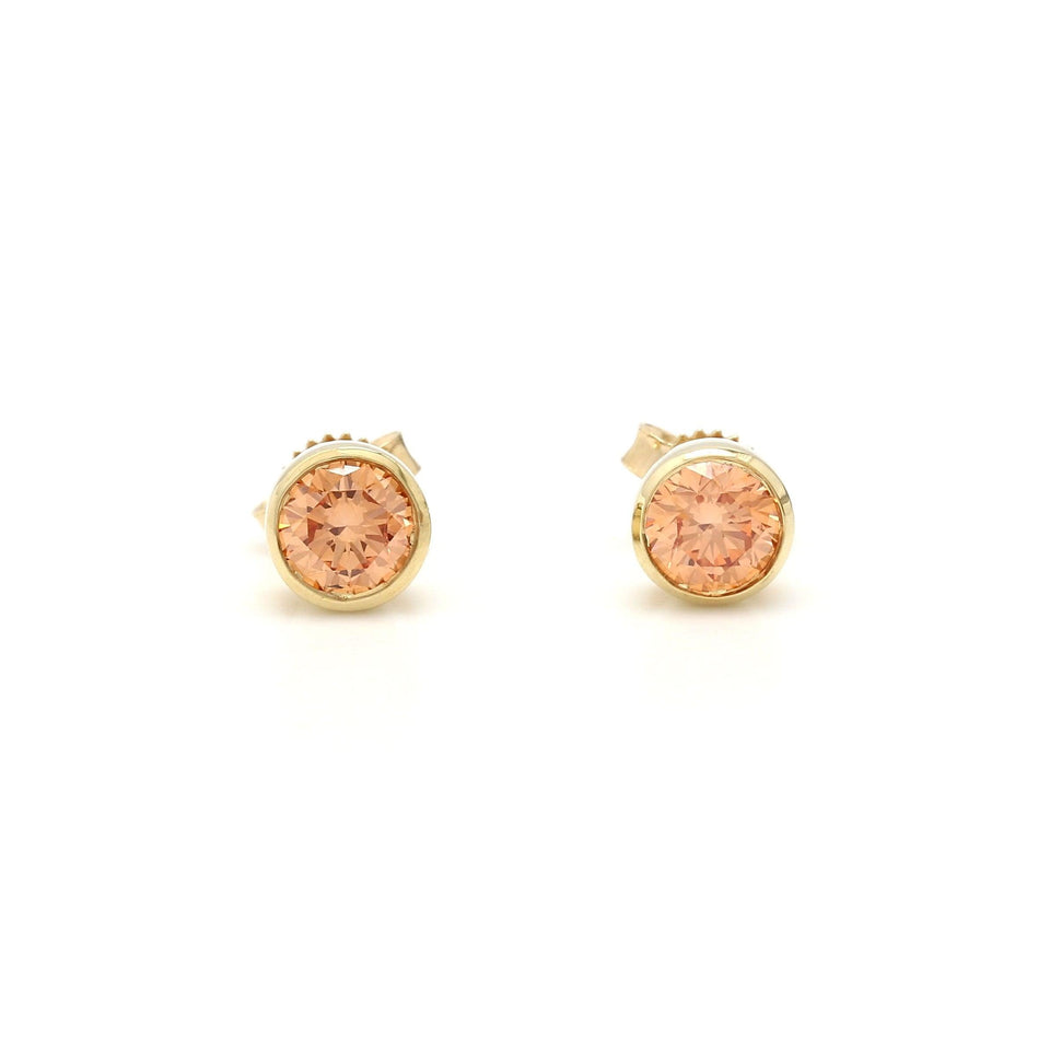 3/4 Ct. T.W. Orange Lab-Grown Diamond Bezel Earrings 14K Yellow Gold