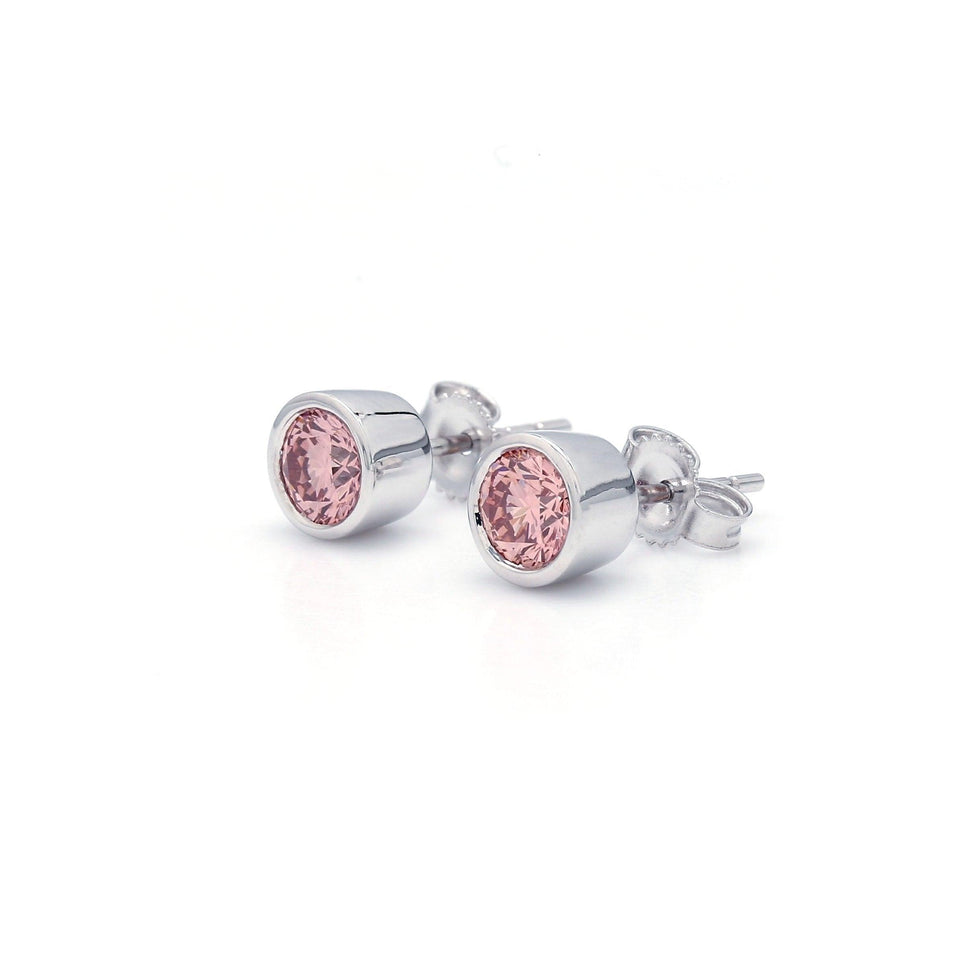 1 1/4 Ct. T.W. Pink Lab-Grown Diamond Bezel Stud Earrings