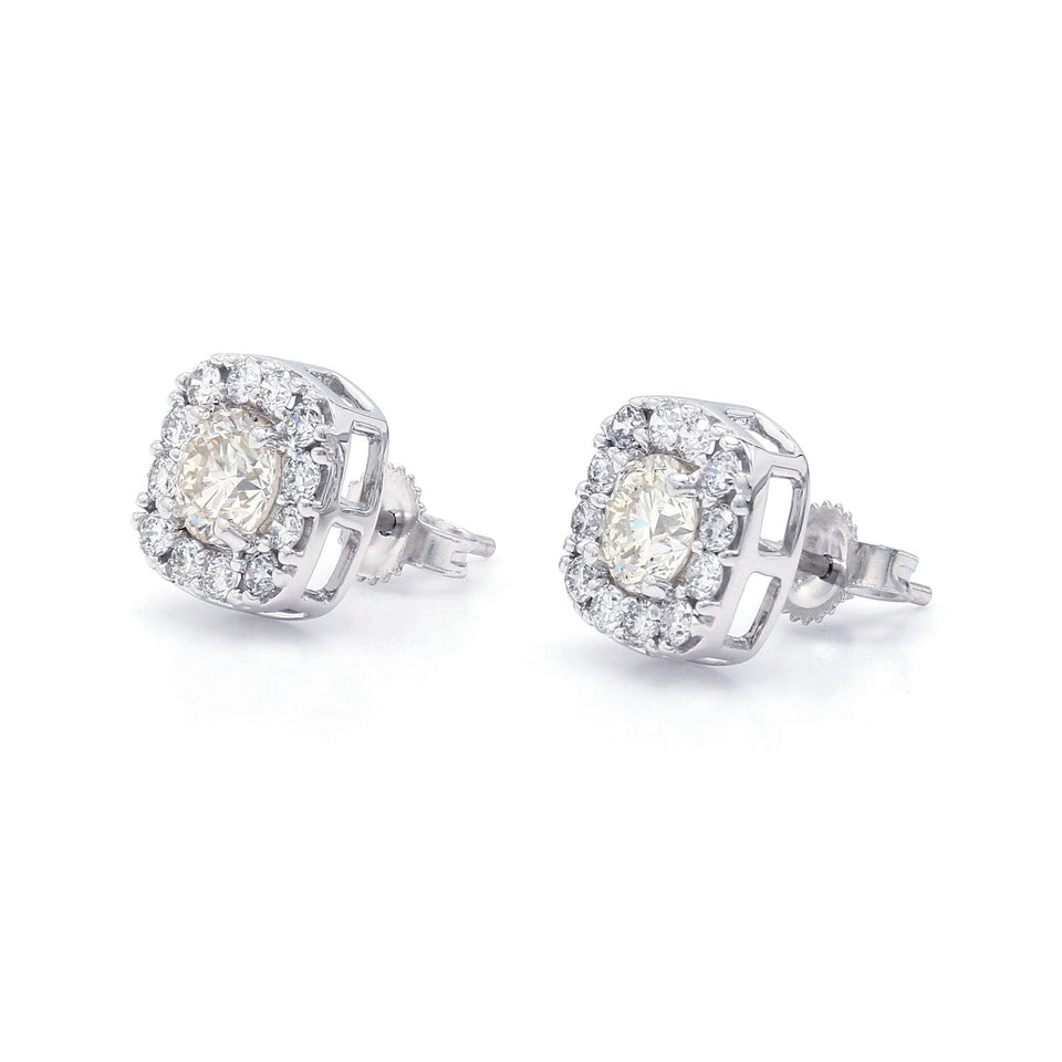 1 1/2 Ct. T.W. Lab-Grown Diamond Square Halo Earrings 14K White Gold