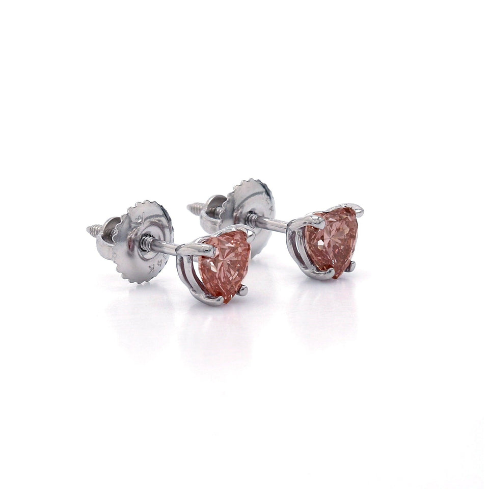 1.00 Ct. T.W. Pink Lab-Grown Diamond Heart Stud Earrings 14K White Gold