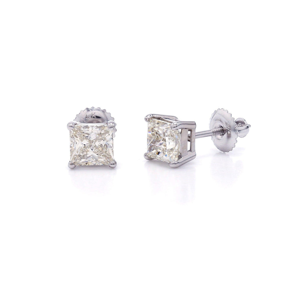2.18 Ct. T.W. Lab-Grown Diamond Princess Cut Stud Earrings 14K White Gold
