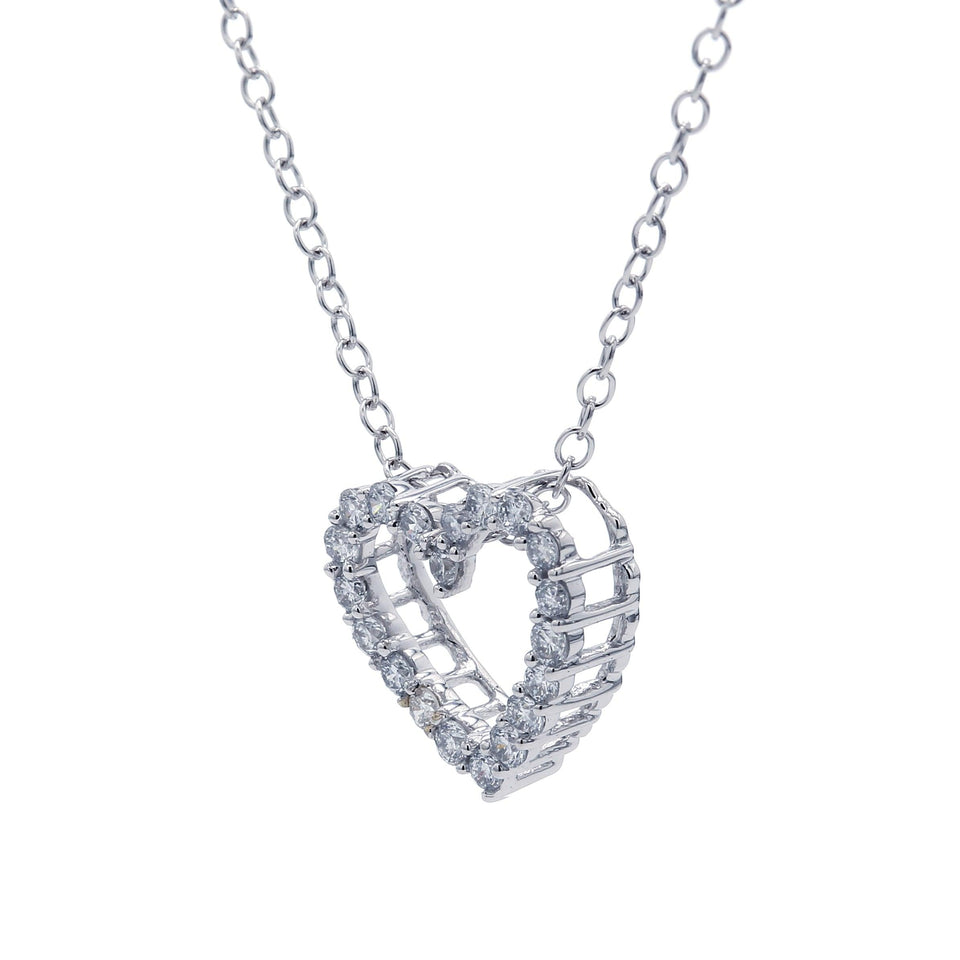 1/4 Ct. T.W. Lab-Grown Diamond 14K White Gold Heart Pendant Side View