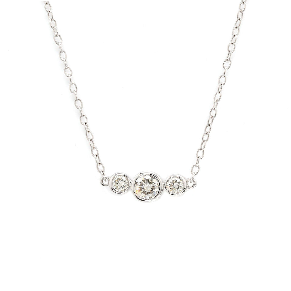 3/4 Ct. T.W. Lab-Grown Diamond Bezel 14K White Gold Necklace