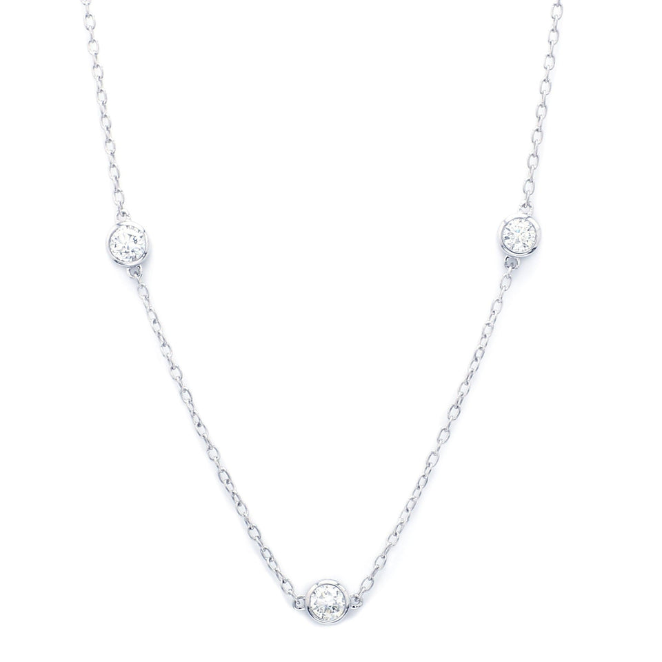 2 1/2 Ct. T.W. Lab-Grown Diamond Station 14K White Gold Necklace