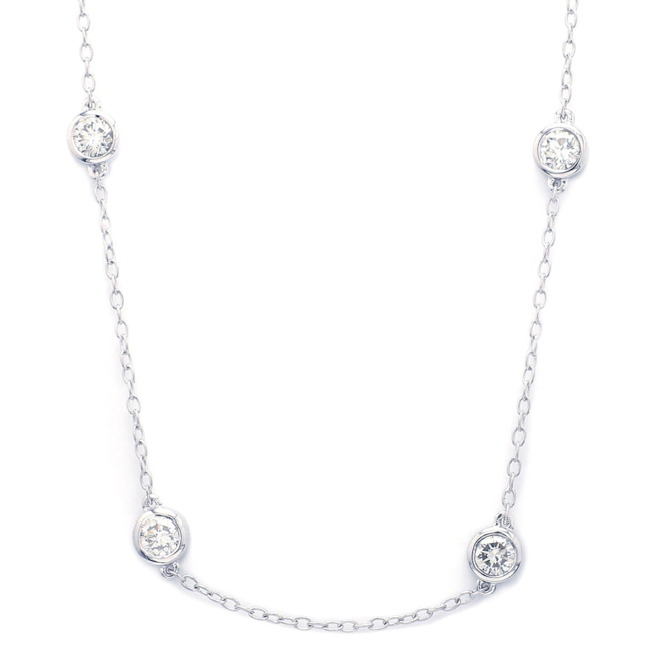 5.00 Ct. T.W. Lab-Grown Diamond Station 14K White Gold Necklace