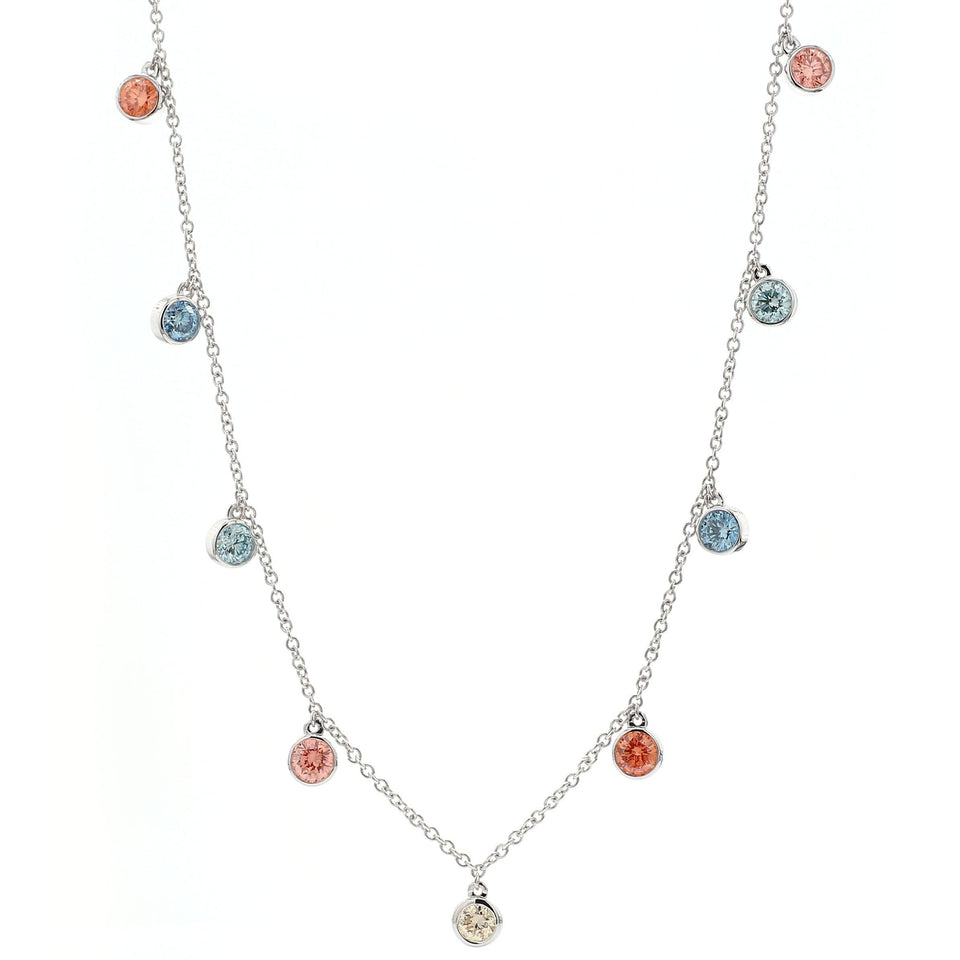 3.00 Ct. T.W. Multi Colored Lab Grown Diamond 14K White Gold Necklace
