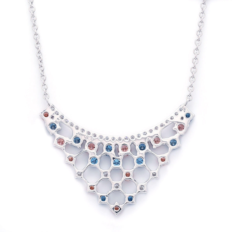 2.00 Ct. T.W. Multi Colored Lab Grown Diamond 14K White Gold Necklace