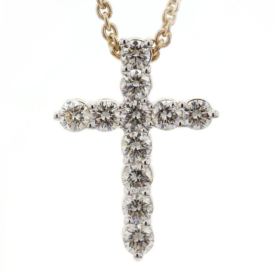 2 1/4 Ct. T.W. White Lab Grown Diamond Cross 14K Yellow Gold Pendant