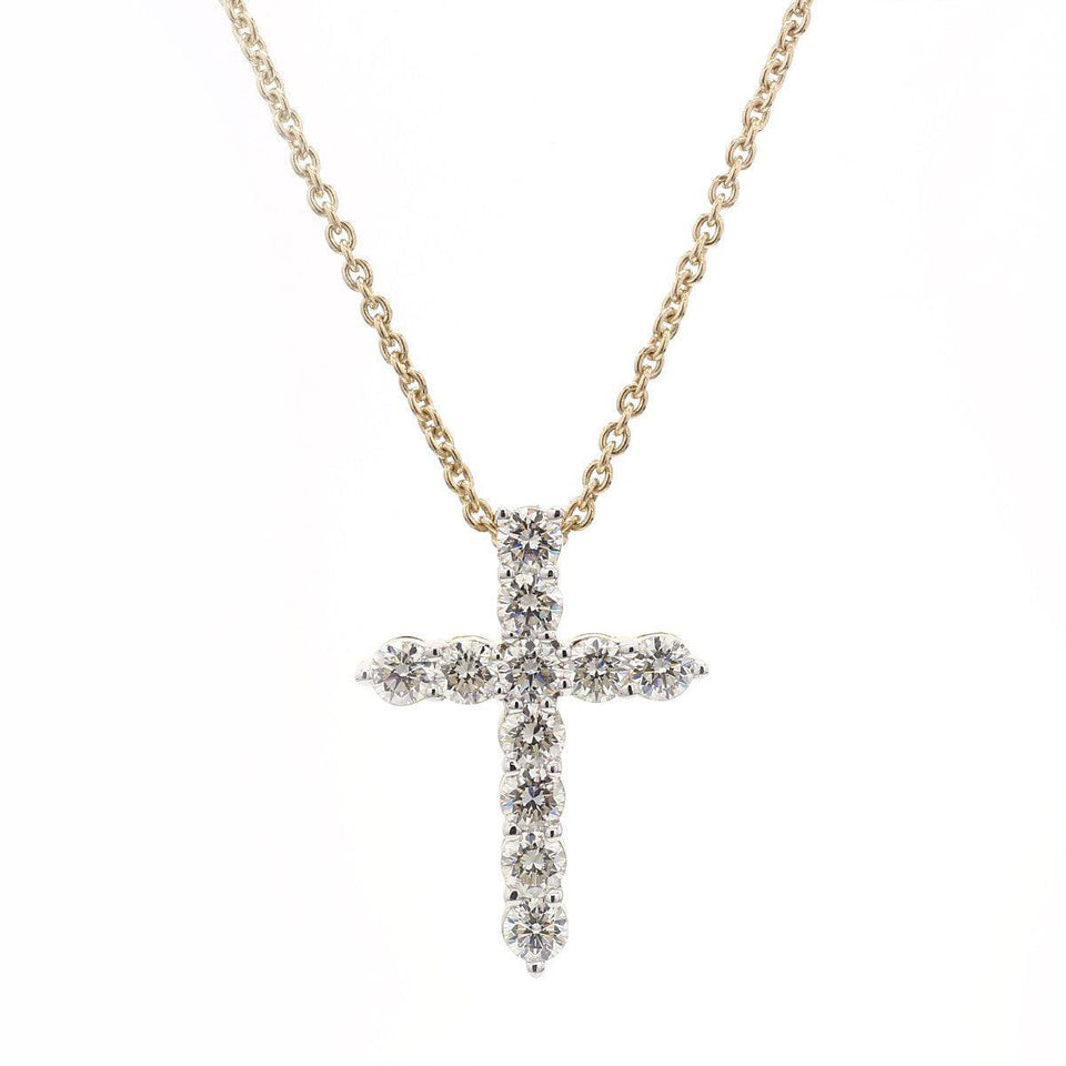 3 1/2 Ct. T.W. White Lab Grown Diamond Cross 14K Yellow Gold Pendant