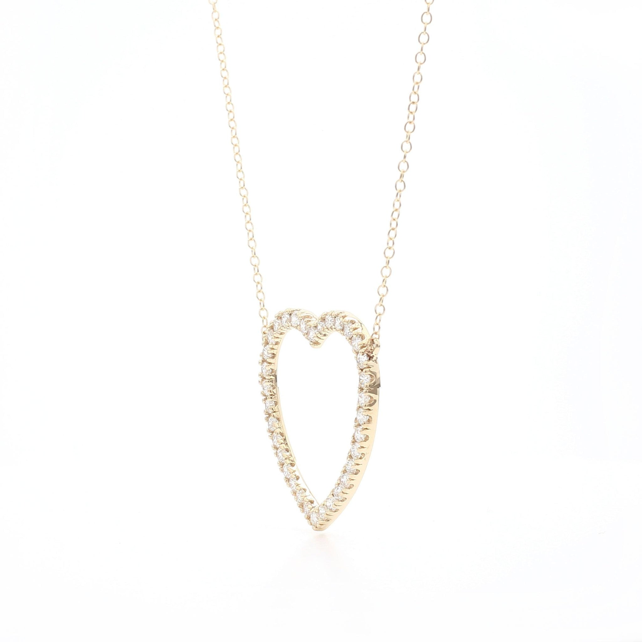 1.00 Ct. T.W. Lab-Grown Diamond Heart 14K Yellow Gold Necklace