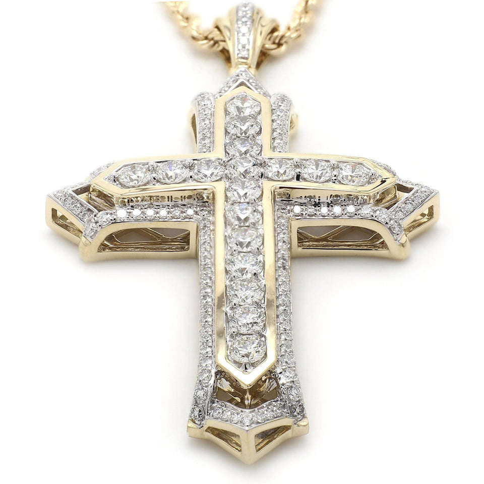 6.00 Ct. T.W. White Lab Grown Diamond Cross 14K Yellow Gold Pendant