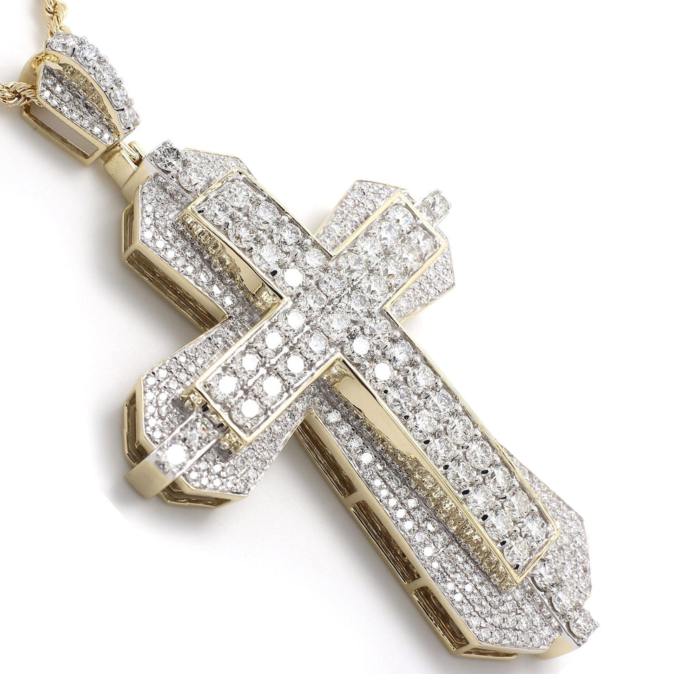 19.00 Ct. T.W. White Lab Grown Diamond Cross 14K Yellow Gold Pendant