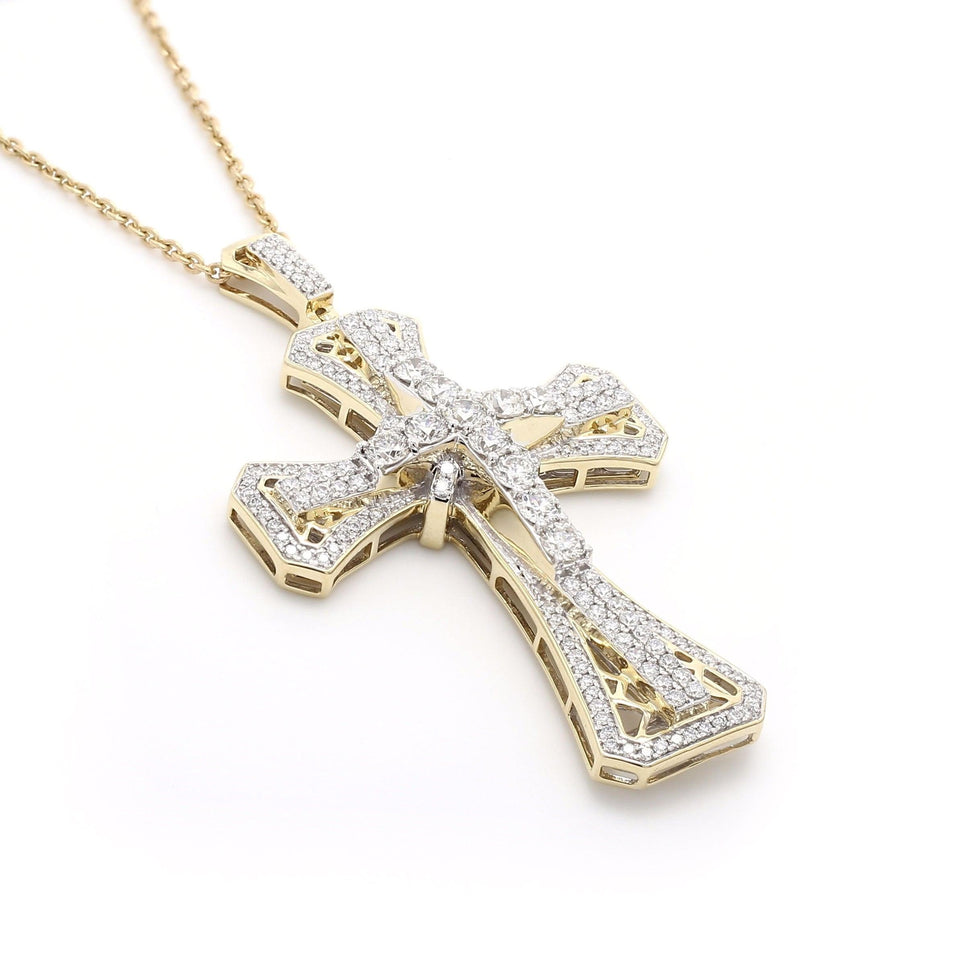 5.00 Ct. T.W. Lab Grown Diamond Cross 14K Yellow Gold Pendant
