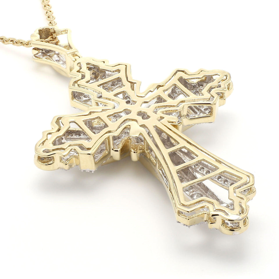 4 1/3 Ct. T.W. Lab Grown Diamond Cross 14K Yellow Gold Pendant