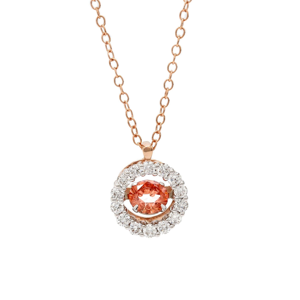 3/4 Ct. T.W. Pink and White Lab Grown Diamond 14K Rose Gold Pendant