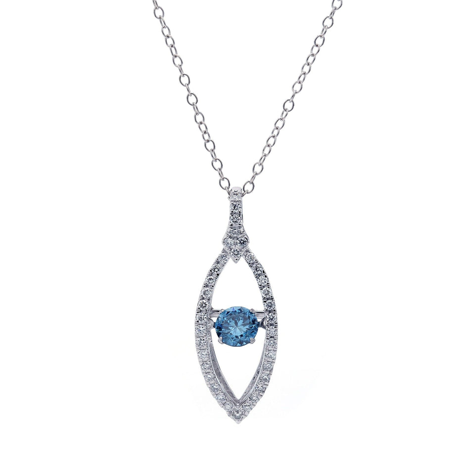3/4 Ct. T.W. Royal Blue and White Lab Grown Diamond 14K White Gold Pendant