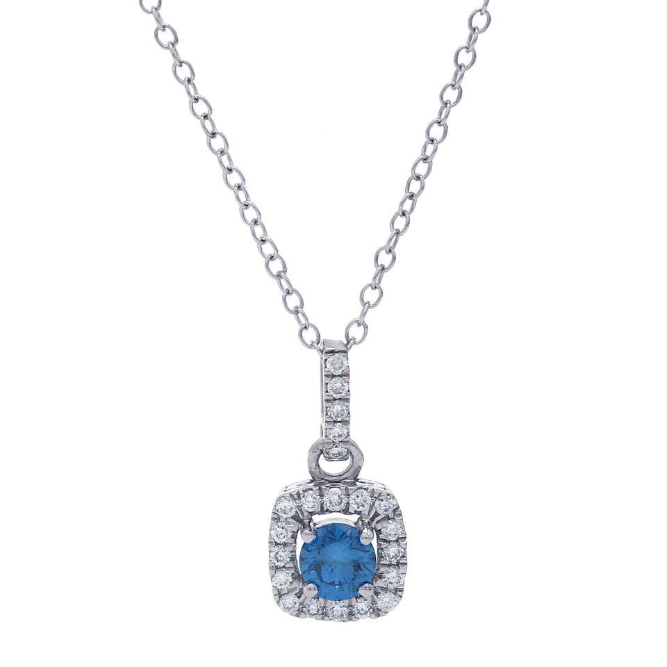 1/2 Ct. T.W. Blue And White Diamond Halo 14K White Gold Pendant