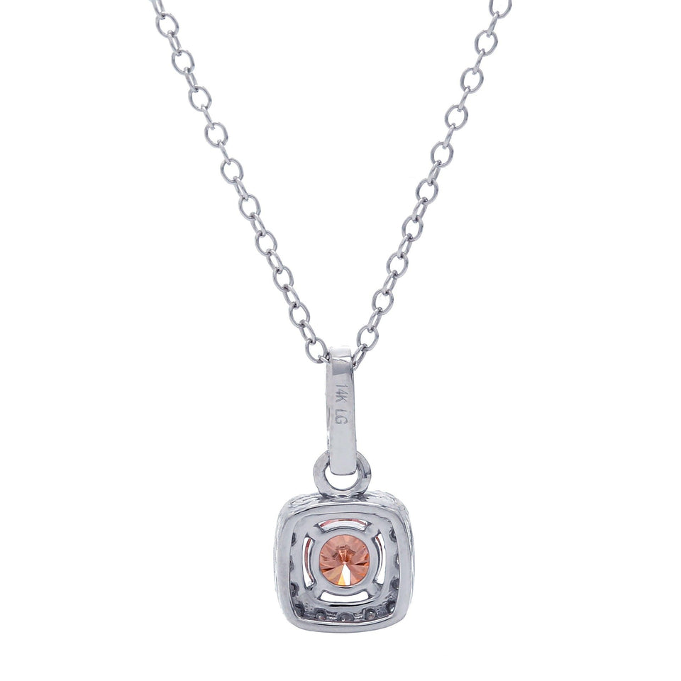 1/2 Ct. T.W. Orange And White Diamond Halo 14K White Gold Pendant