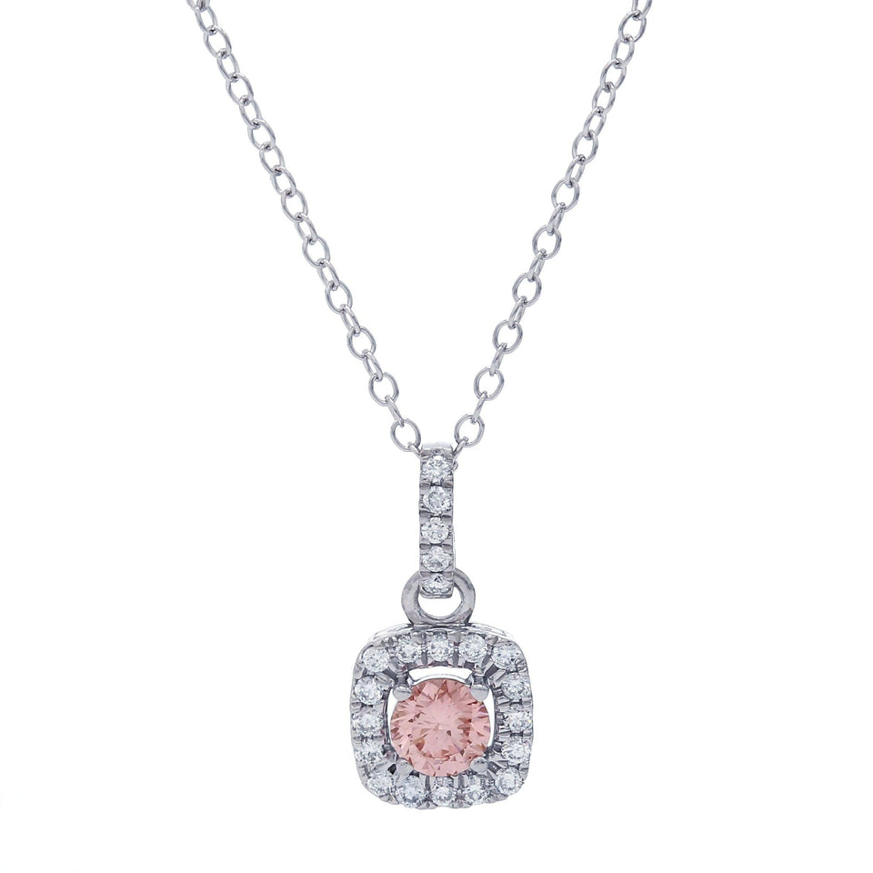1/2 Ct. T.W. Pink And White Lab Grown Diamond Halo 14K White Gold Pendant