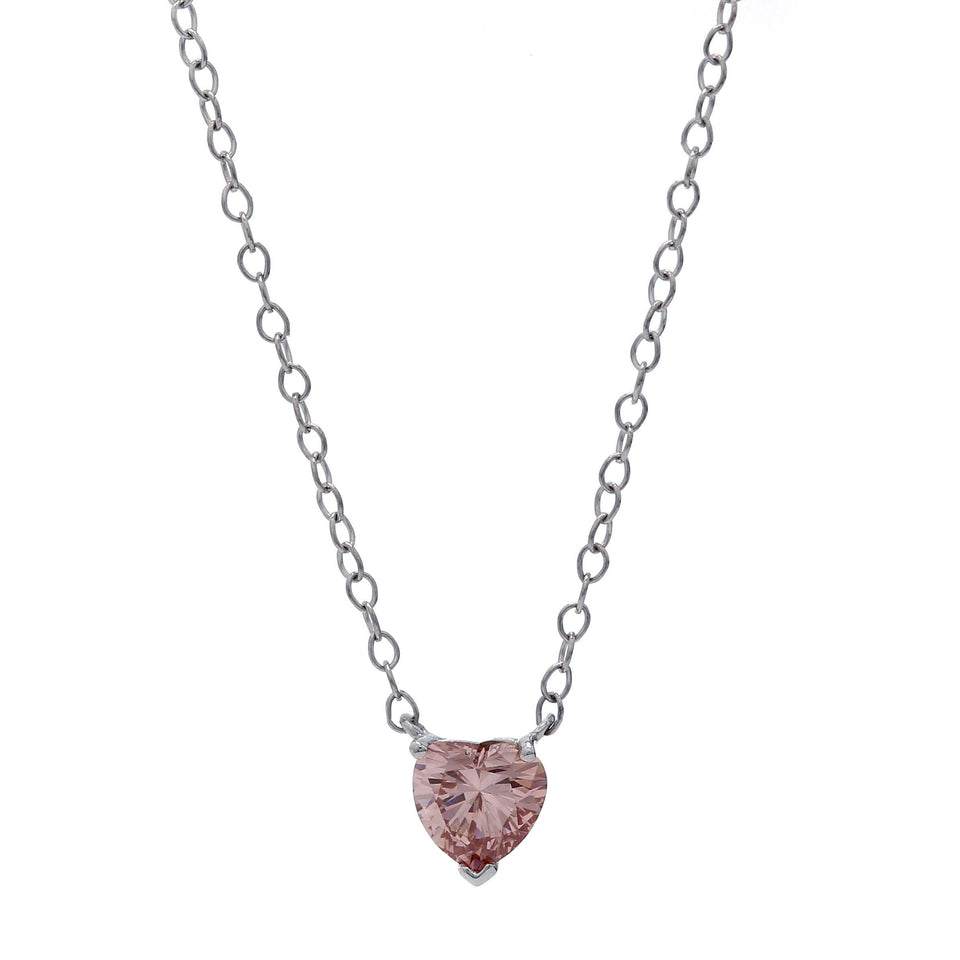 1/2 Ct. Pink Heart Lab-Grown Diamond Solitaire 14K White Gold Necklace