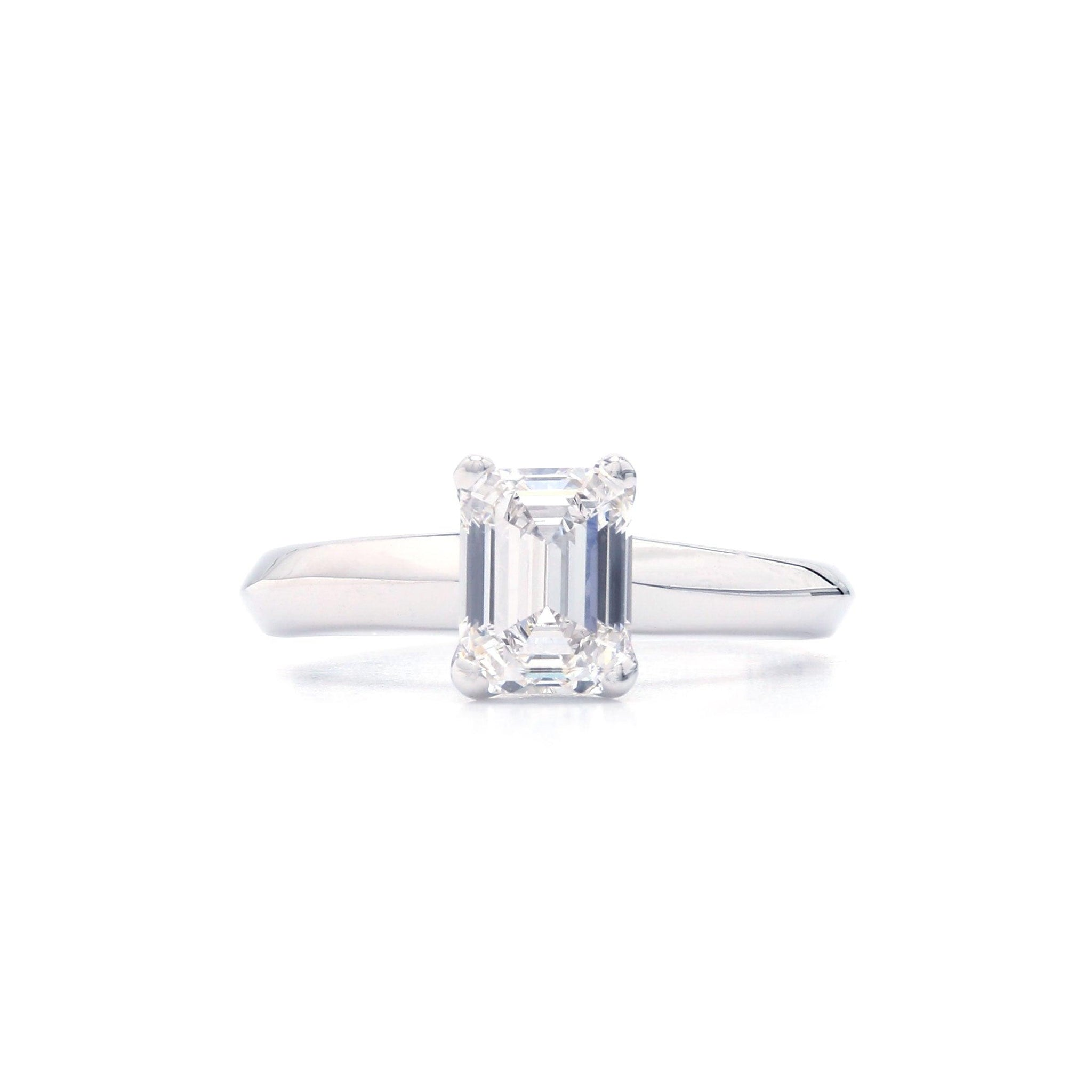 2.06 Carat Emerald Cut Lab-Grown Diamond 14K White Gold Ring (Center: 2.06 Ct. J VS2)