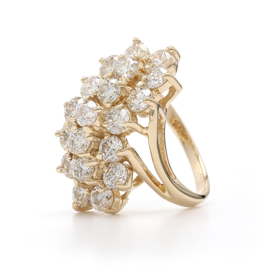 3.00 Ct. T.W. Lab Grown Diamond Cluster Ring 14K Yellow Gold