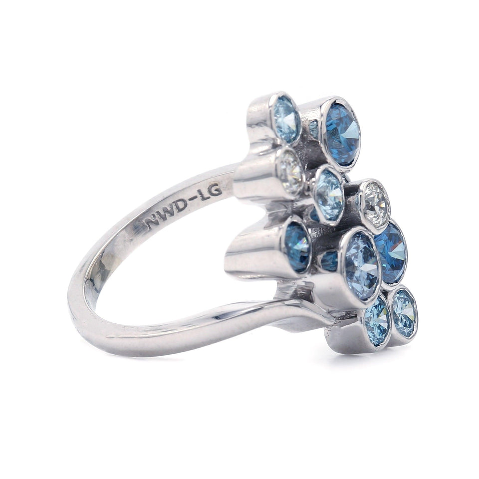 2.00 Ct. T.W. Lab-Grown Multi Colored Blue Diamond Circles Ring 14K White Gold