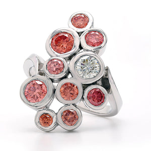 2.00 Ct. T.W. Lab-Grown Multi Colored Pink Diamond Circles Ring 14K White Gold