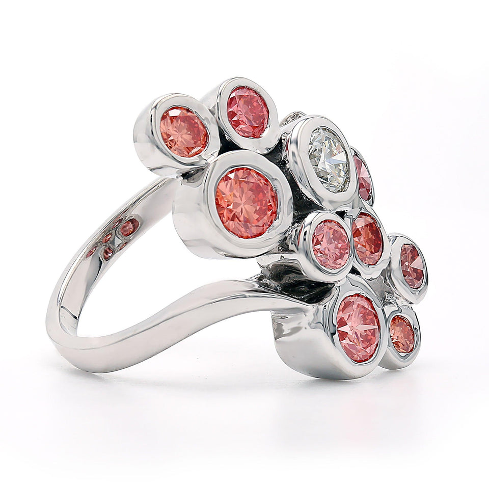 2.00 Ct. T.W. Lab Grown Multi Colored Pink Diamond Circles Ring 14K White Gold