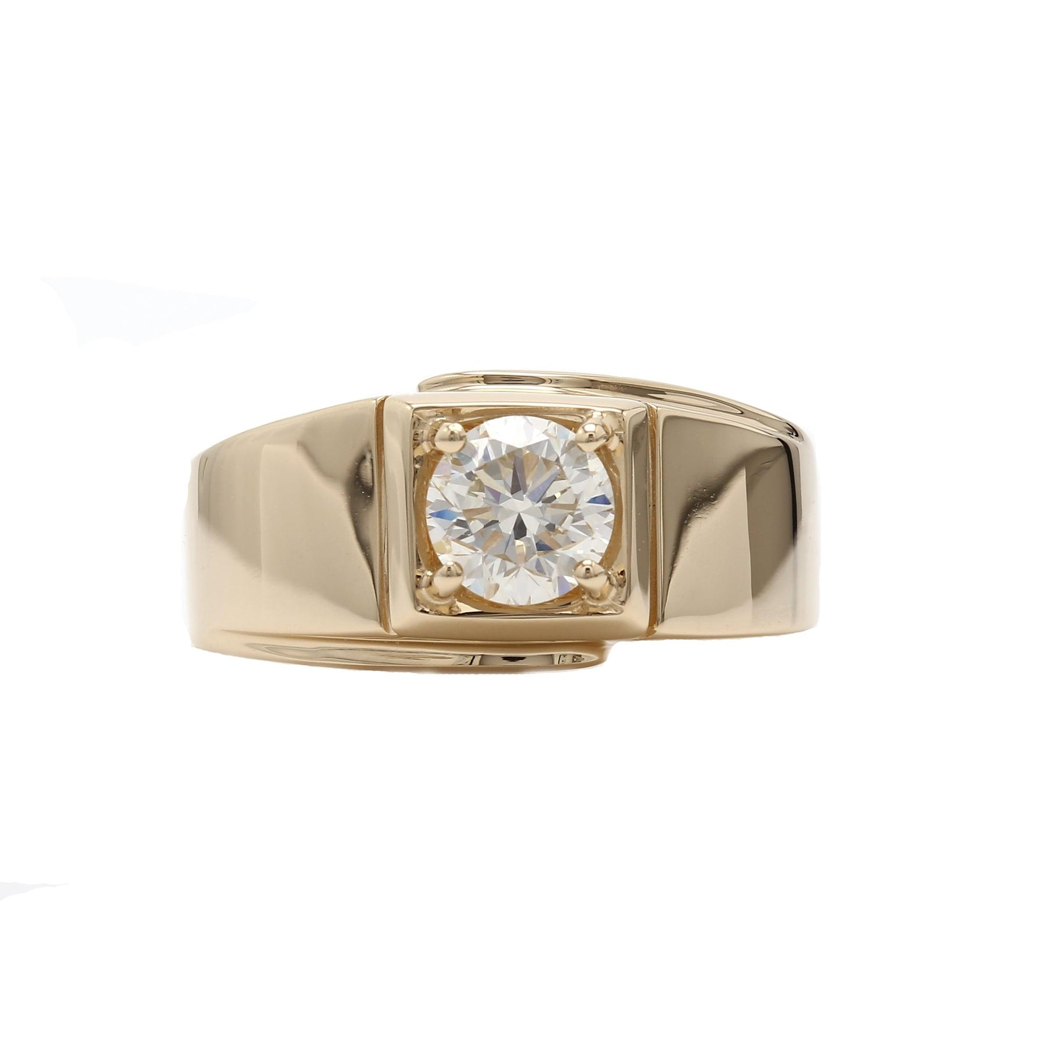 1.00 Ct. Round Lab-Grown Diamond Men's Ring 14K Yellow Gold