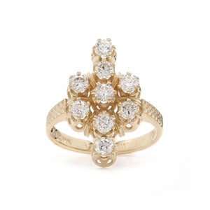 1.00 Ct. T.W. Lab-Grown Diamond Cluster Ring 14K Yellow Gold
